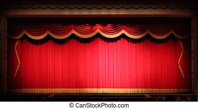 отделка, театр, сцена, задний план, драпировка, яркий, желтый, марочный