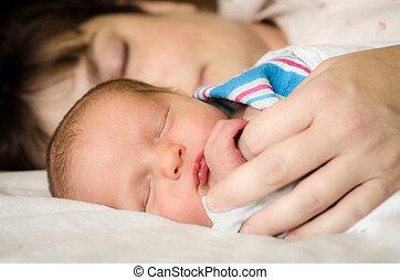 отдыха, младенец, следующий, мама