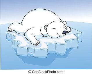 отдыха, полярный, медведь, лед