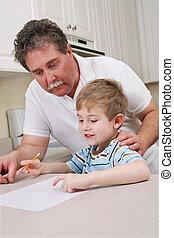 отец, молодой, сын, помощь, средний, aged, домашнее задание