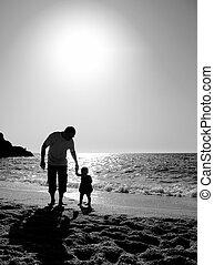 отец, пляж, дочь, закат солнца, playing