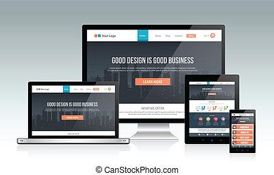отзывчивый, веб-сайт, дизайн