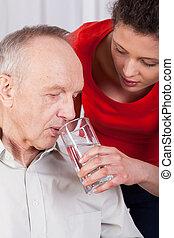 отключен, воды, медсестра, помощь, питьевой