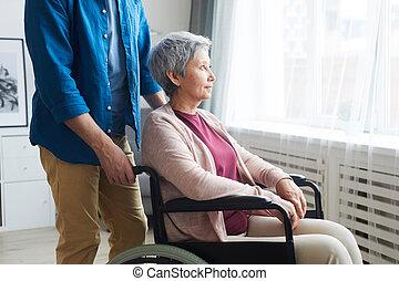 отключен, женщина, инвалидная коляска