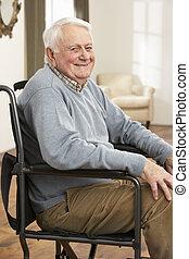 отключен, инвалидная коляска, человек, старшая, сидящий