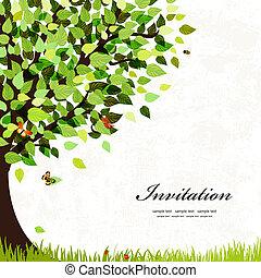 открытка, дерево, дизайн
