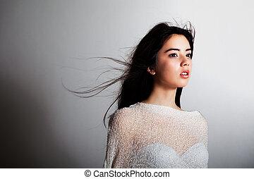 открытый всем ветрам, волосы, модель, мода, молодой