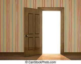 открытый, дверь