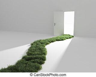 открытый, дверь, легкий