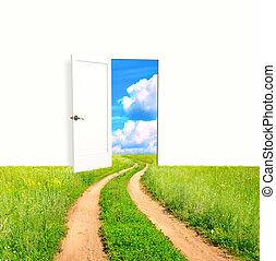 открытый, дверь, поле