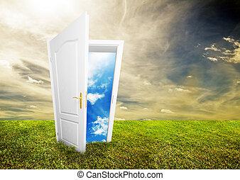 открытый, жизнь, дверь, новый