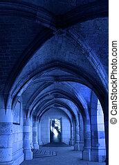 открытый, замок, дверь, средневековый, коридор