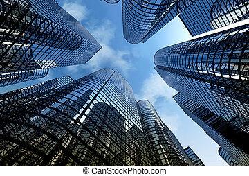 отражающий, skyscrapers, бизнес, офис, buildings.