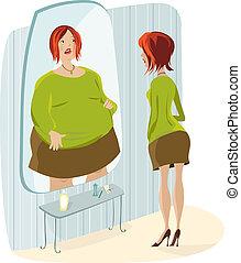 отражение, ее, жир, леди