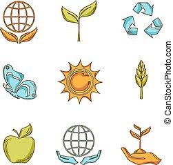 отходы, эскиз, экология, задавать, icons