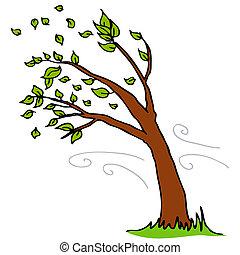 от, leaves, blowing, дерево, ветер