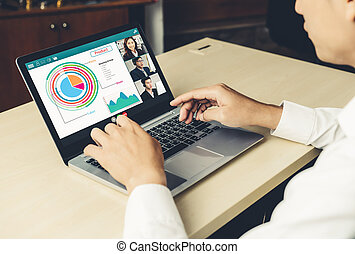 офис, бизнес, люди, или, видео, виртуальный, вызов, встреча, дистанционный пульт, рабочее место