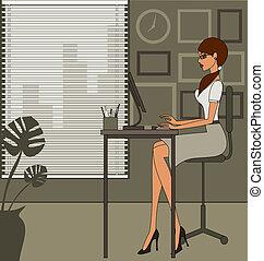 офис, женщина