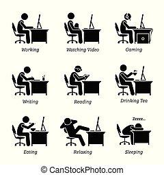 офис, за работой, должностное лицо, workplace., компьютер, фронт