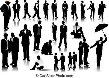 офис, люди, цвет, silhouettes., один, вектор, щелчок, изменение