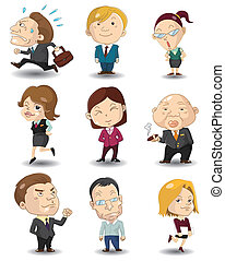 офис, мультфильм, значок, workers