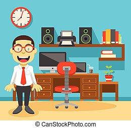 офис, рабочее место, работник, his