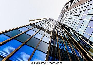 офис, стакан, buildings., skyscrapers, silhouettes.