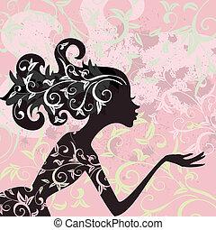 очарование, волосы, девушка, орнамент