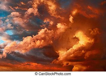 очень, cloudscape, драматичный, закат солнца