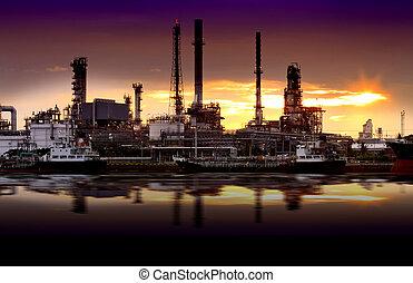 очистительный завод, масло, завод, пейзаж, река
