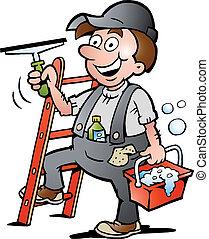 очиститель, окно, иллюстрация
