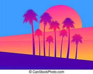 пальма, иллюстрация, вектор, закат солнца, yellow., задний план, алый, градиент, trees, тропический