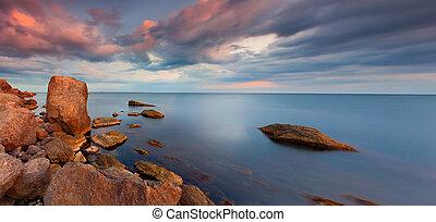 панорама, закат солнца, море, красочный