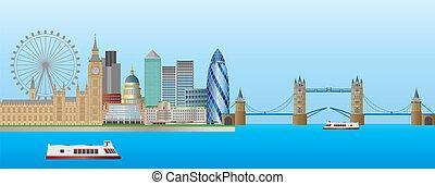 панорама, линия горизонта, лондон, иллюстрация