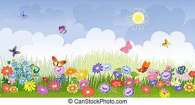 панорама, цветок, луг