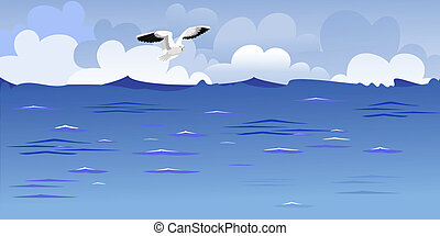 панорама, soaring, чайка, океан
