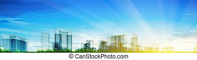 панорамный, концепция, город