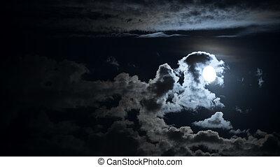 панорамный, луна, cloudscape, ночь