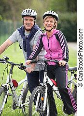 пара, велосипед, поездка, having