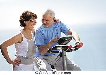 пара, велосипед, старшая, упражнение