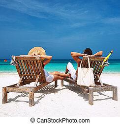 пара, мальдивы, пляж, белый, расслабиться
