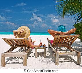 пара, мальдивы, пляж