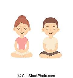 пара, мультфильм, meditating