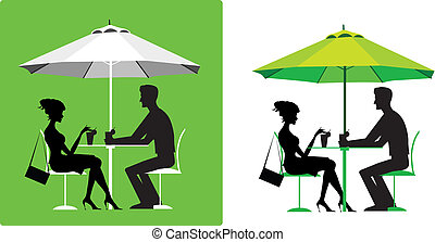 пара, на открытом воздухе, кафе