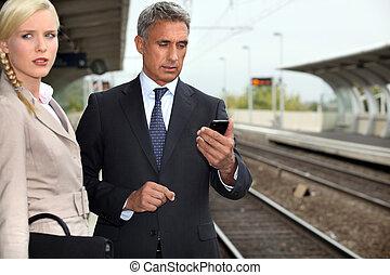 пара, поезд, ожидание, бизнес