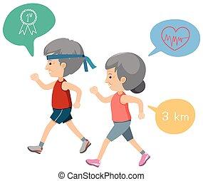пара, пожилой, упражнение