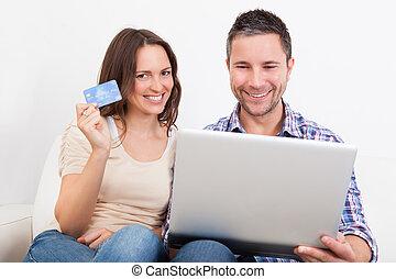 пара, поход по магазинам, молодой, онлайн