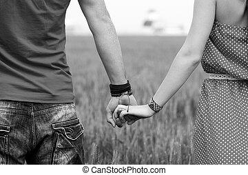 пара, черный, белый, держа, руки