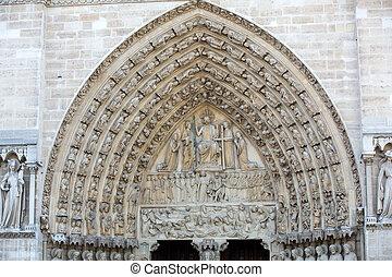 париж, notre, дама, -, портал, суждение, кафедральный собор, последний