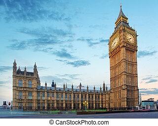 парламент, бен, вечер, большой, houses, uk, лондон